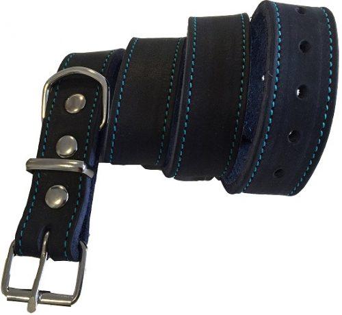 Halsbånd læder blå